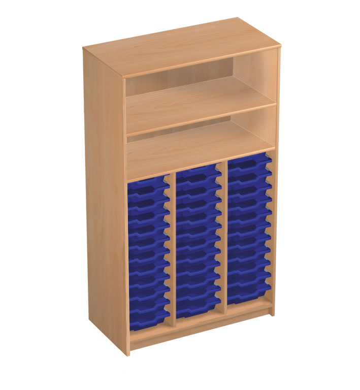 36 tray classroom storage open cupboard with 2 shelves by lockertek