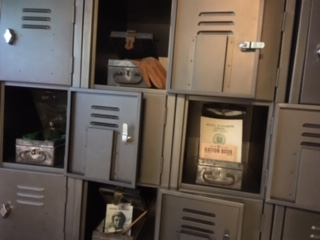 Urban vintage lockers in an escape room